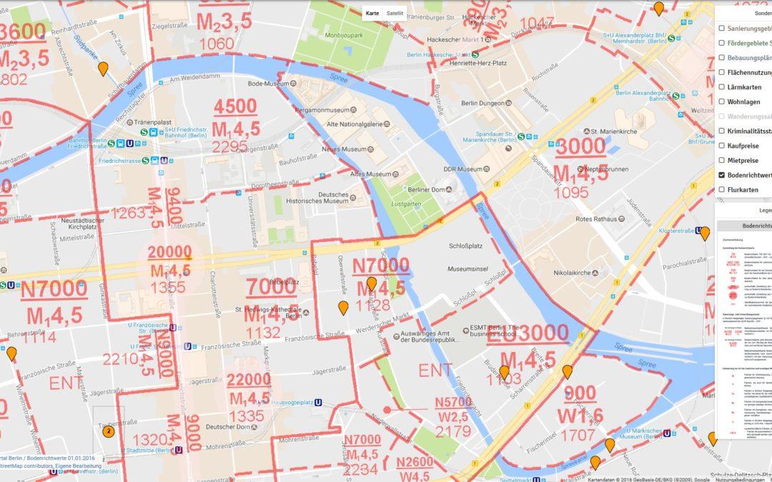 Bodenrichtwertkarten für Berlin und Köln