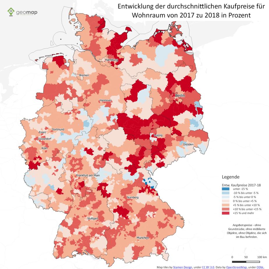 Kaufpreise Für Wohnraum Steigen Weiter Vor Allem Im Osten Geomap