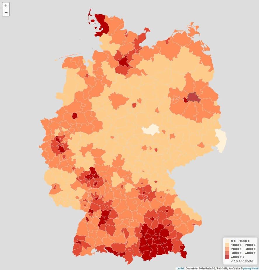Interaktive Karte Zeigt Bundesweite Kaufpreisentwicklung Geomap