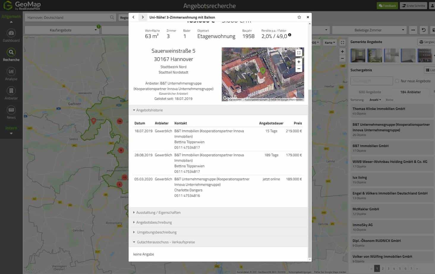 GeoMap-Angebotshistorie