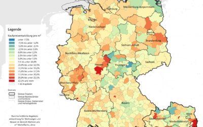 Kaufpreisentwicklung im DACH-Raum: Überwiegend steigende Preise in Deutschland und Österreich, stagnierende Preise in der Schweiz