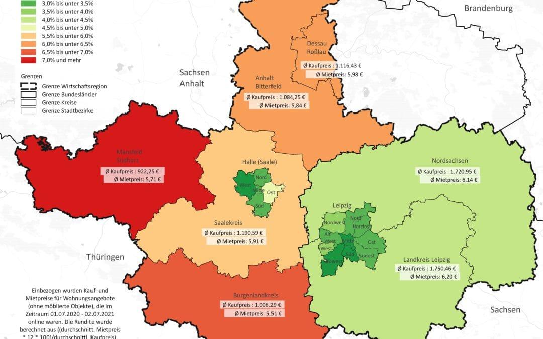Renditen in der Wirtschaftsregion Leipzig-Halle: Landkreise vorn, Halle und Leipzig Schlusslichter